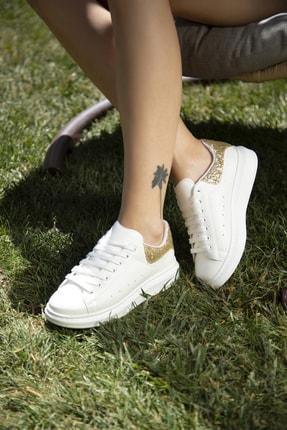 Ayakkabı Modası Beyaz-altın Kadın Sneaker 5007-20-110001 1