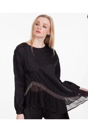 Hepsibitarz Kadin Siyah Ipek Zincirli Tasarim Oversize Bluz Trendyol