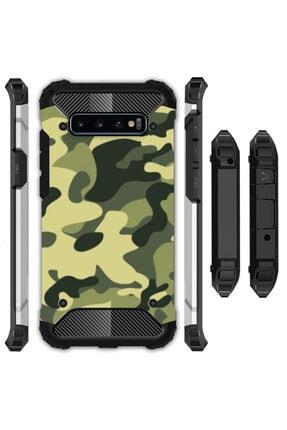 cupcase Samsung Galaxy S10 Plus Kılıf Desenli Sert Korumalı Zırh Tank Kapak - Asker Kamuflaj 0