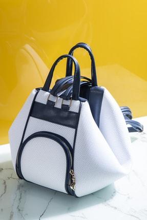 Tonny Black Kadın Çanta Çoklu Kullanıma Uygun Beyaz Lacivert Tbc04 0