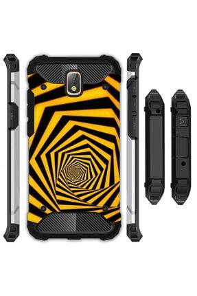 cupcase Samsung Galaxy J7 Pro Kılıf Desenli Sert Korumalı Zırh Tank Kapak - Sarı Siyah Tünel 0