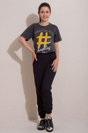 Kadın Modası Kadın Siyah Lastikli Cepli Çimalı Alt Eşofman 0