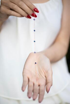 İzla Design Safir Taşlı Rose Kaplama Gümüş Bileklik 1