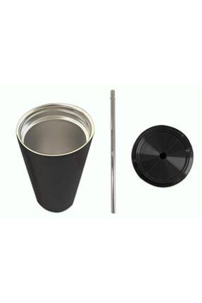 Tasarım Evi Çift Katmanlı Kaliteli Çelik 500 ml Pipetli Termos Bardak 1