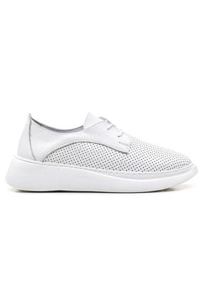 GRADA Beyaz Yüksek Tabanlı Hakiki Deri Kadın Sneaker Ayakkabı 1