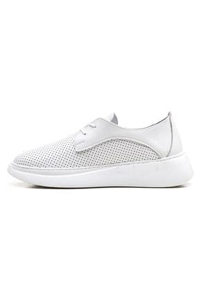 GRADA Beyaz Yüksek Tabanlı Hakiki Deri Kadın Sneaker Ayakkabı 2