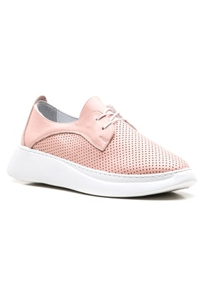 GRADA Pudra Hakiki Deri Yüksek Tabanlı Kadın Sneaker Ayakkabı 0
