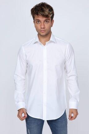 Abbate Mikro Kumaş Detaylı Beyaz Slim Fit Erkek Gömlek 0