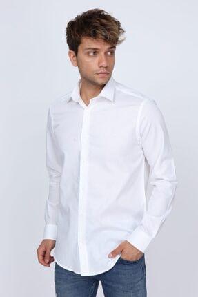 Abbate Mikro Kumaş Detaylı Beyaz Slim Fit Erkek Gömlek 3