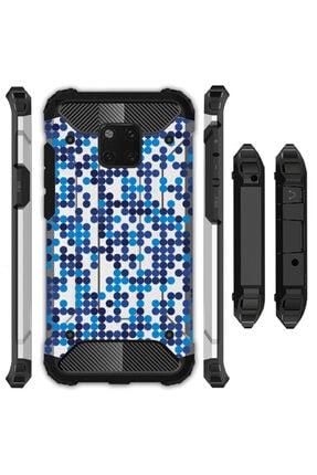 cupcase Huawei Mate 20 Pro Kılıf Desenli Sert Korumalı Zırh Tank Kapak - Mavi Benekler 0