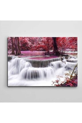 Dekolata Renkli Yapraklar Ve Şelale Kanvas Tablo 35 X 50 cm 0