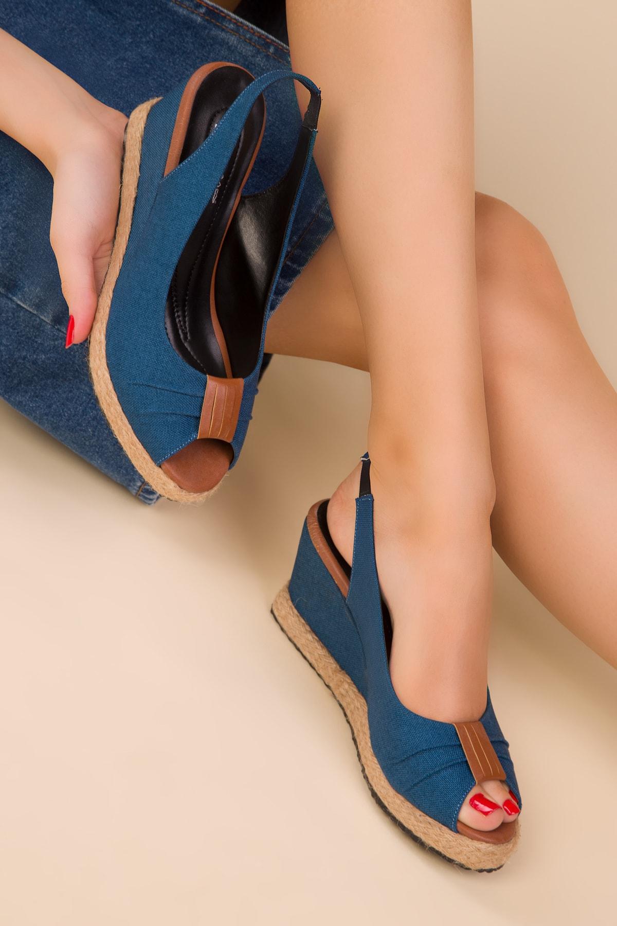 Petrol Mavı Kadın Dolgu Topuklu Ayakkabı 15049