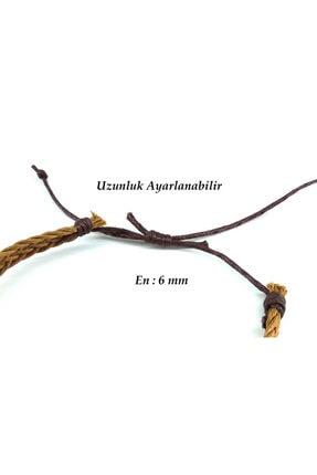 Madame Kuub El Işi Kahverengi Örgü 6 Mm En Ayarlanabilir Kadın Erkek Bileklik 3