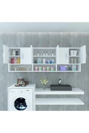 Kenzlife Banyo Dolabı Maksim Byz 060*150*22 Mutfak Ofis Dolabı Kitaplık Kapaklı Raflı 0