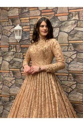 Womentic Bridal Gold Işlemeli Tesettür Abiye 0