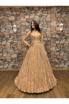 Womentic Bridal Gold Işlemeli Tesettür Abiye 1