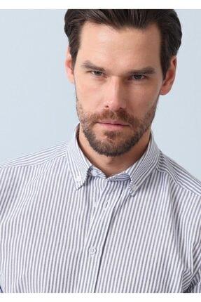Ramsey Erkek Lacivert Çizgili Dokuma Uzun Kollu Gömlek RP10124547 0
