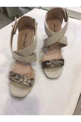 Annie Hall Kadın Krem Çapraz Topuklu Ayakkabı 0