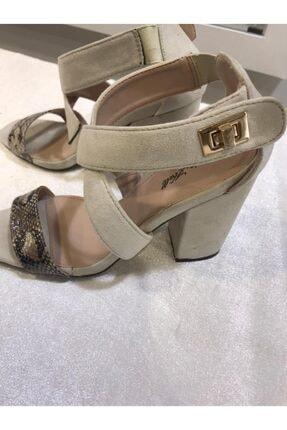 Annie Hall Kadın Krem Çapraz Topuklu Ayakkabı 2