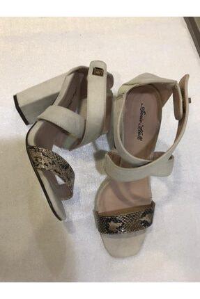 Annie Hall Kadın Krem Çapraz Topuklu Ayakkabı 3