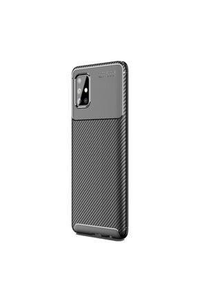 Happyshop Samsung Galaxy A31 Kılıf Karbon Desenli Lux Negro Silikon+cam Ekran Koruyucu 0