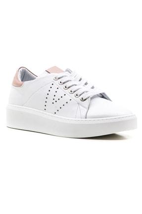 GRADA Kadın Beyaz Bağcıklı Hakiki Deri Spor Günlük Ayakkabı 0