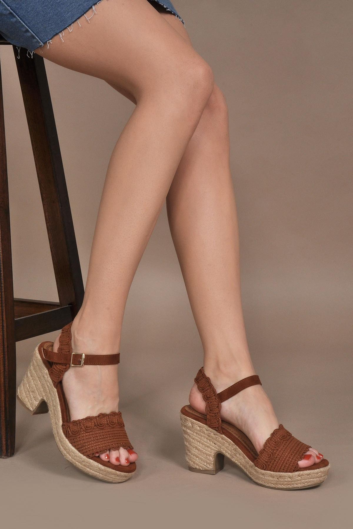 Vizon Ayakkabı Kadın Kahve Sandalet Vzn20-108y