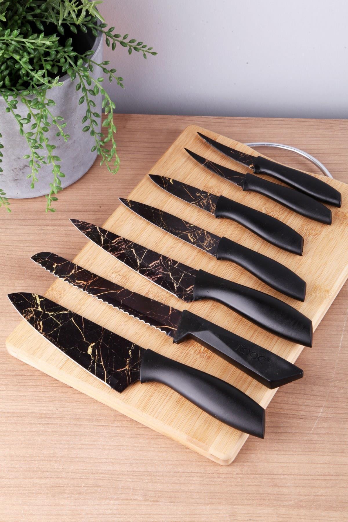 Siyah Mermer Bıçak Set 7 Adet