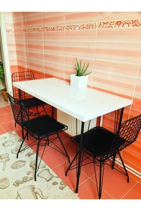 Yirmi15 Metal Ayaklı High Gloss Parlak Beyaz Dekoratif Mutfak Masası 60x120 cm 0