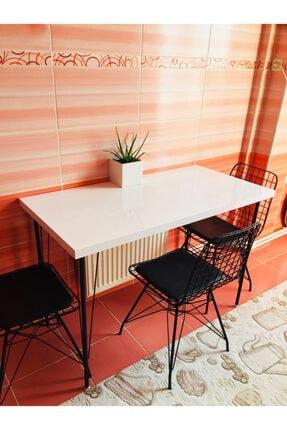 Yirmi15 Metal Ayaklı High Gloss Parlak Beyaz Dekoratif Mutfak Masası 60x120 cm 1