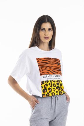 bunubanayolla Zebra Ve Leopar Parça Baskılı Salaş Beyaz Tshirt 2