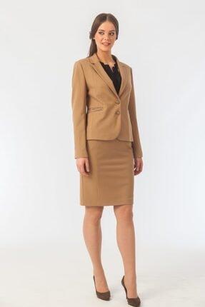 Naramaxx Kadın Kahverengi Tek Düğmeli Blazer Ceket 0