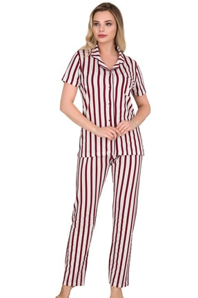 Sensu Kadın Bordo Kısa Kollu Düğmeli Pijama Takımı 1