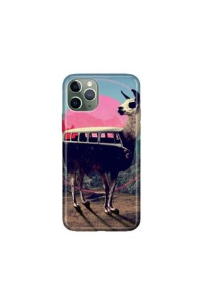 cupcase iPhone 11 Pro 5.8 inch  Kılıf Desenli Esnek Silikon Telefon Kabı Kapak - Lama 0
