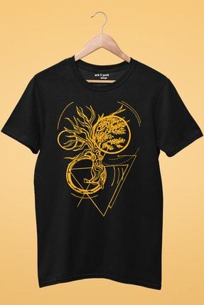 Artaport Design Unisex Soyut Ağaç Tasarım Baskılı Siyah T-shirt 1