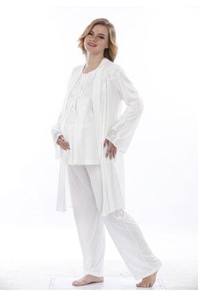 Nehir Dantel Sabahlıklı Lohusa 3'lü Pijama Takımı 1