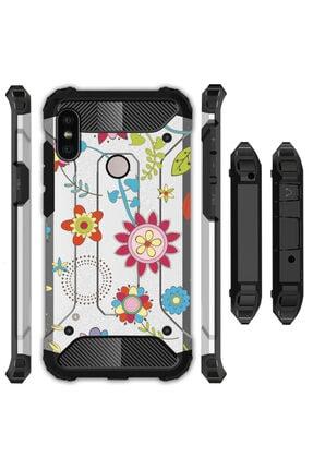 cupcase Xiaomi Mi A2 Lite Kılıf Desenli Sert Korumalı Zırh Tank Kapak - Moss Flo 0