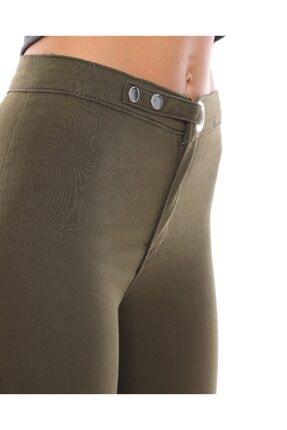 trendmany Kadın Kemerli Skinny Likralı Arkası Çift Cepli Dar Paça Pantolon 1
