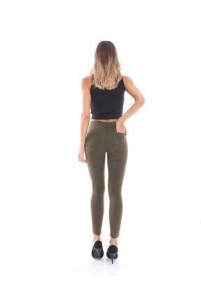 trendmany Kadın Kemerli Skinny Likralı Arkası Çift Cepli Dar Paça Pantolon 2