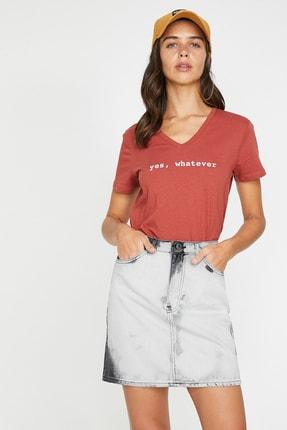 Koton Kadın Kırmızı V Yaka Kısa Kollu T-Shirt 9YAL18795IK 1