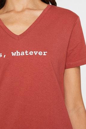 Koton Kadın Kırmızı V Yaka Kısa Kollu T-Shirt 9YAL18795IK 2