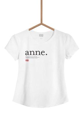 Lûgat365 Kadın Beyaz Anne Yazılı Tişört 0