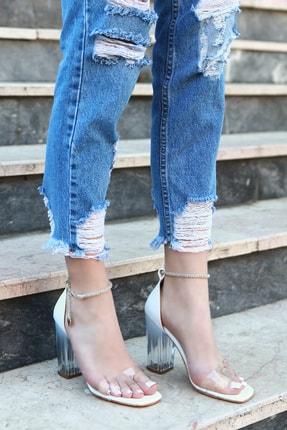 TRENDBU AYAKKABI Beyaz Cilt Kadın Topuklu Ayakkabı 1
