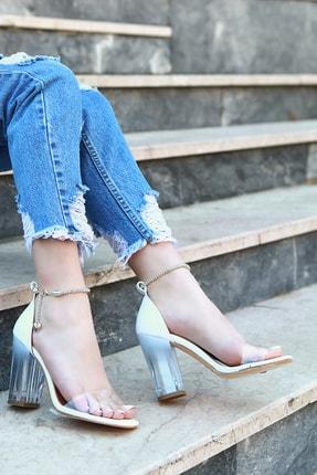 TRENDBU AYAKKABI Beyaz Cilt Kadın Topuklu Ayakkabı 2