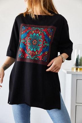 XHAN Kadın Siyah Etnik Baskılı Boyfriend Yırtmaçlı T-shirt 9KXK1-43318-02 1