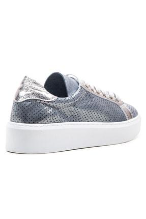 GRADA Mavi Gümüş Yazlık Astarsız Hakiki Deri Kadın Ayakkabı 3