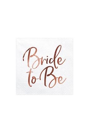 KullanAt Market Bride To Be Rose Gold Baskılı Beyaz Kağıt Peçete 33x33cm 20li 0