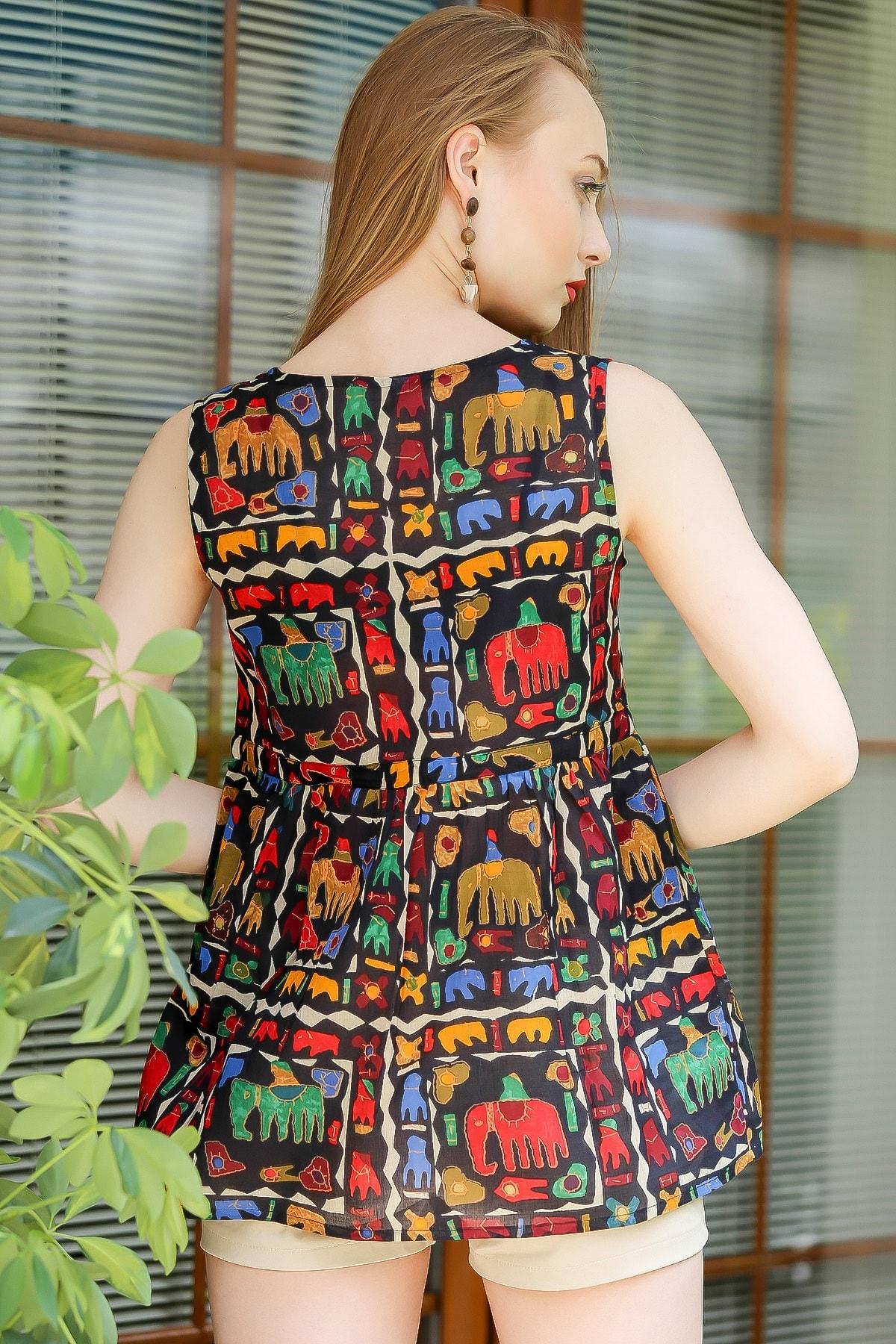 Chiccy Kadın Siyah Bohem Fil Baskılı Robadan Büzgülü Bluz M10010200BL96198 4