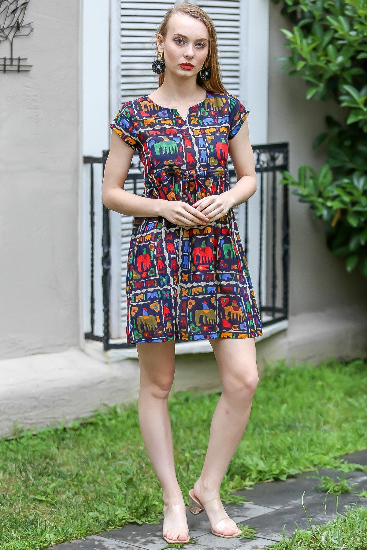 Chiccy Kadın Siyah Bohem Fil Baskılı Robadan Büzgülü Tunik Elbise M10160000EL96690 2