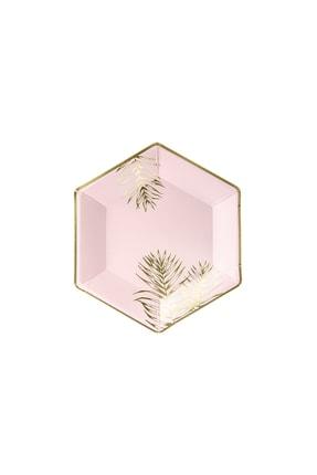 KullanAt Market Tropikal Altın Yaprak Desenli Pembe Kağıt Tabak 23 cm 6lı 0